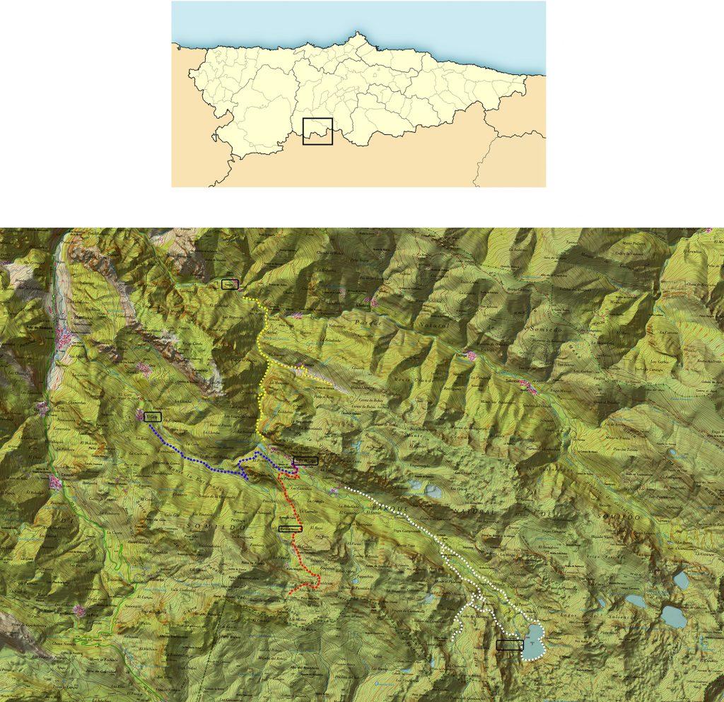 Plano Somiedo Valle de Lago - Rutas desde Valle de Lago