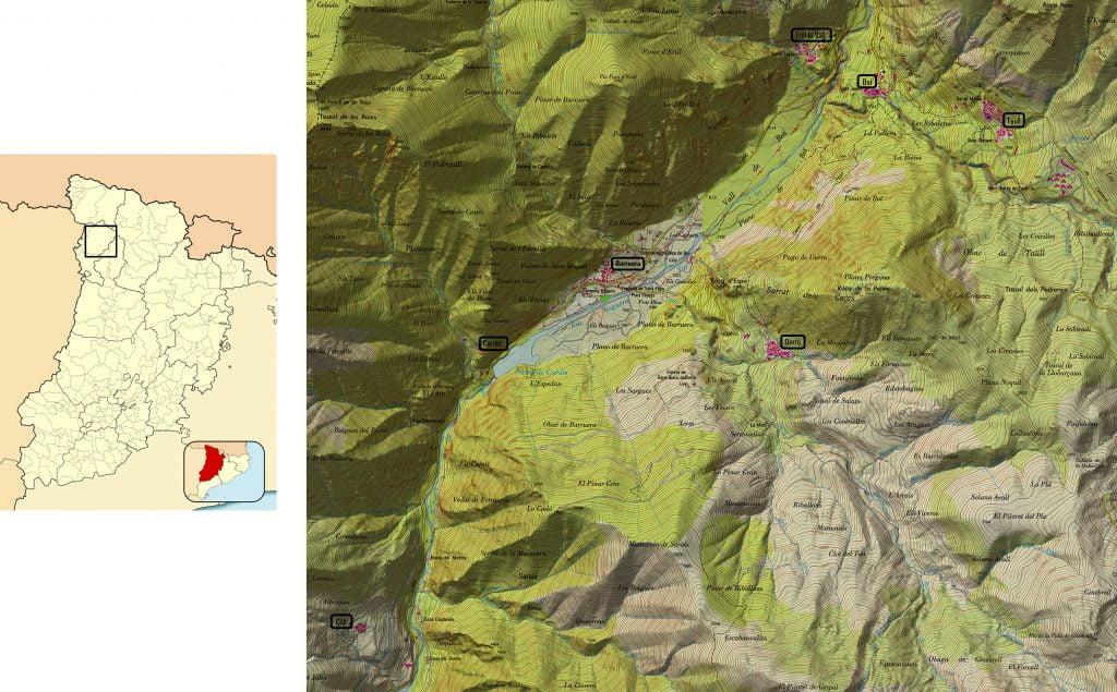 Plano del Vall de Boí - iglesias del Valle de Boí