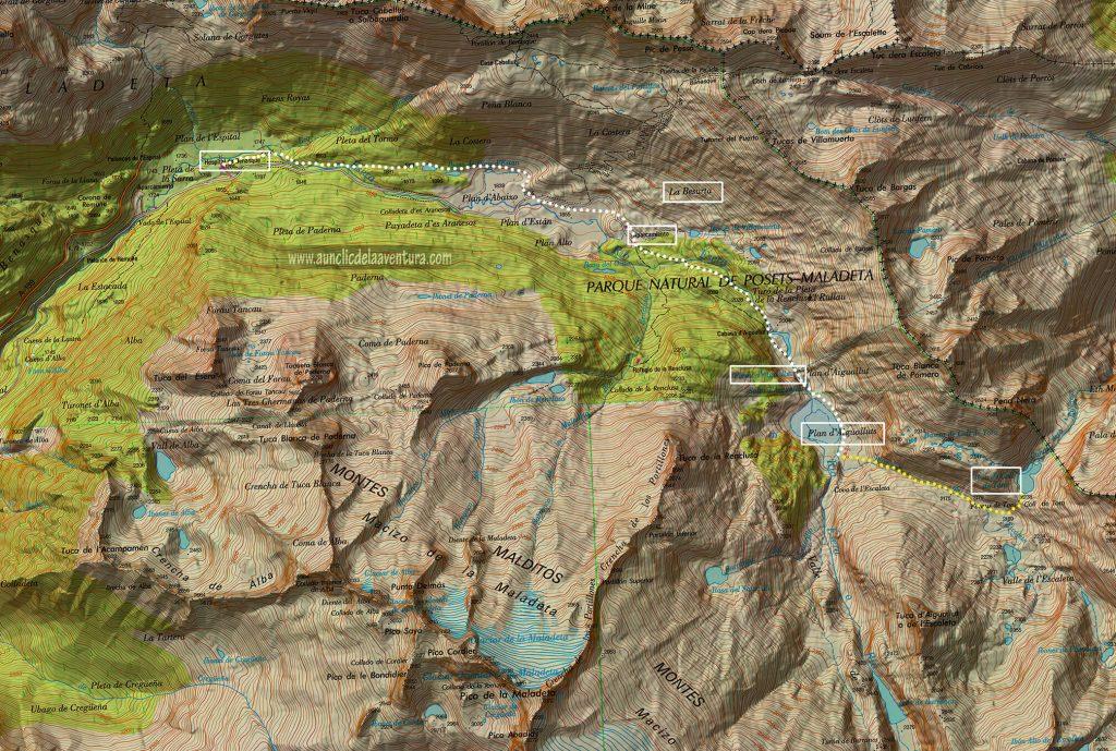 Mapa de la Ruta al Forau d´Aigualluts