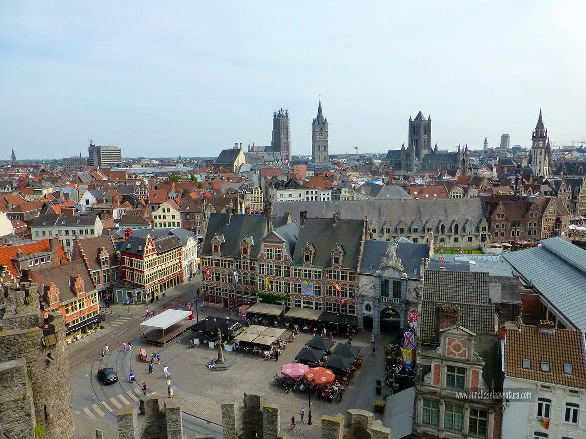 Vista de Gante desde el Castillo - visitar el castillo de Gante