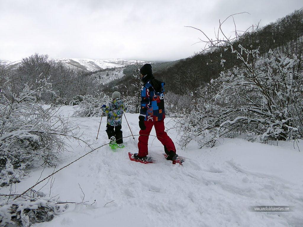 Ruta con raquetas en la nieve en Pineda de la Sierra