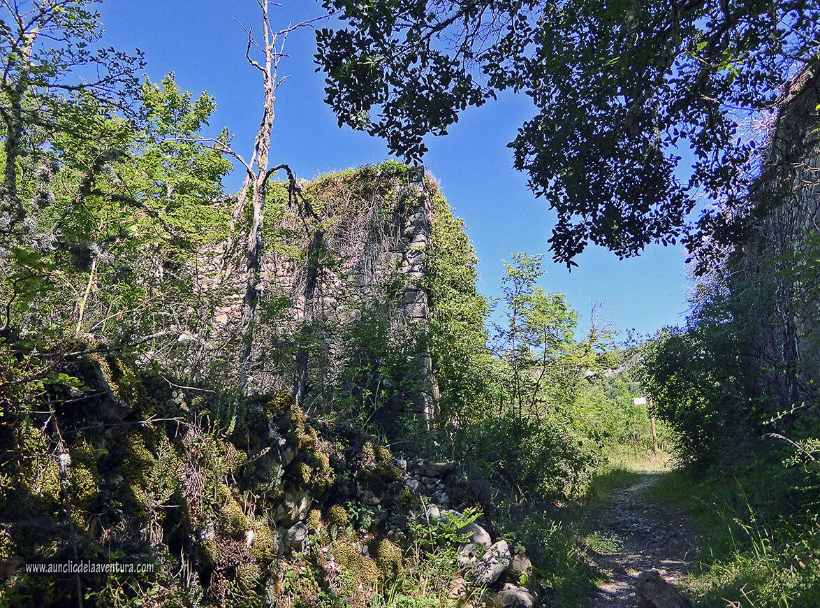 Muros de las casas del pueblo fantasma de Siero - ruta desde Valdelateja hasta la ermita de Castrosiero