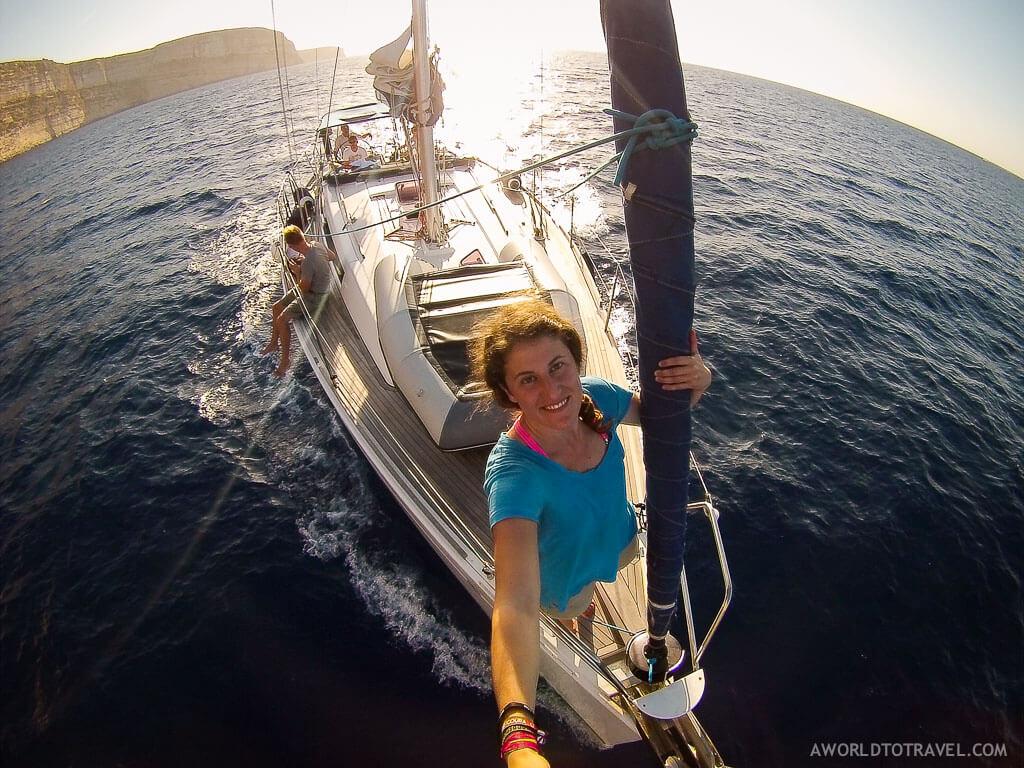 Inma disfrutando de 5 días de navegación en Malta