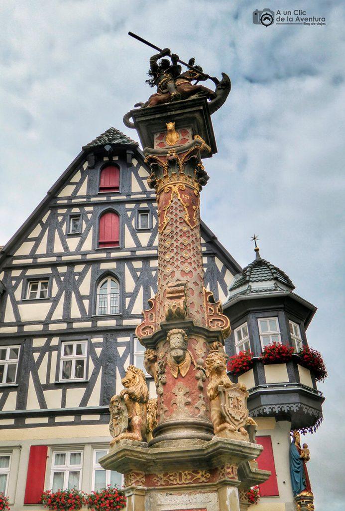 Fuente de San Jorge con la famosa farmacia detrás - qué ver en Rothenburg ob der Tauber