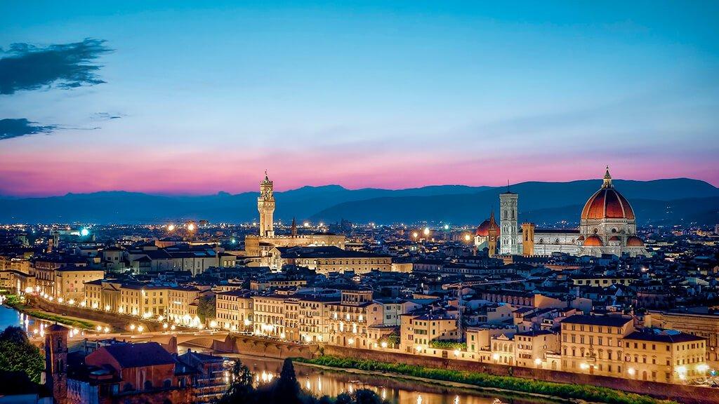 Panorámica de Florencia al anochecer- visitar Florencia