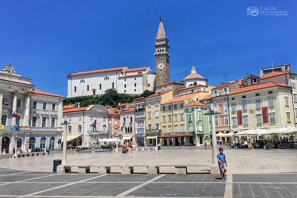 Plaza Tartini de Piran - Viaje en coche a Eslovenia