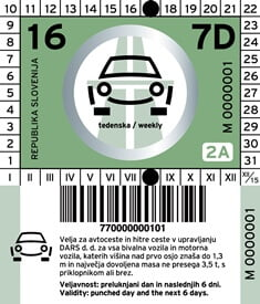 Viñeta para automóvil semanal de Eslovenia