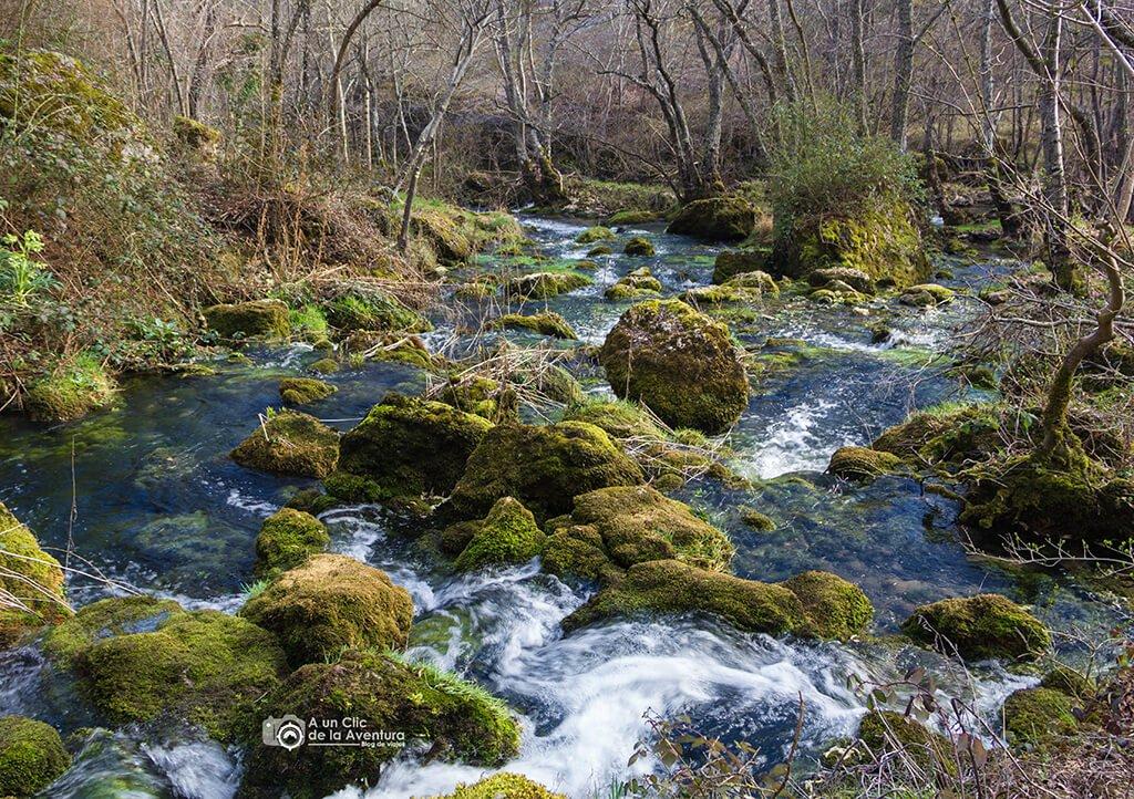 El agua de la Fuentona desemboca en el Rudrón - ruta por el Alto Rudrón