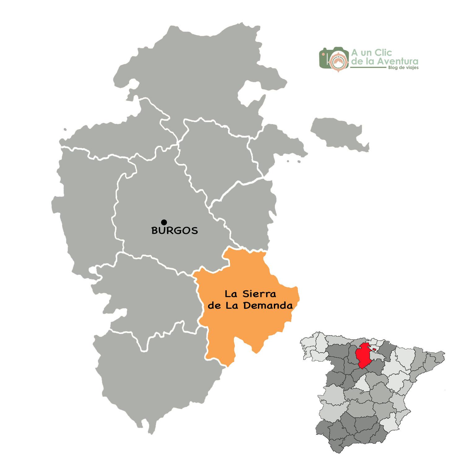 Mapa de la Sierra de la Demanda de Burgos