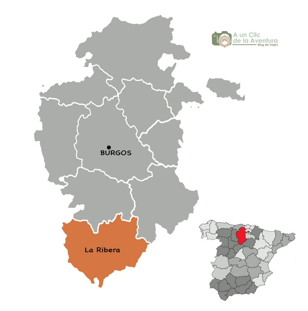 Mapa de la Ribera de Duero de Burgos - que ver en la Ribera del Duero