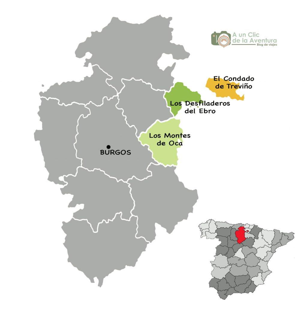 Mapa del Condado de Treviño, Montes de Oca y Desfiladeros del Ebro