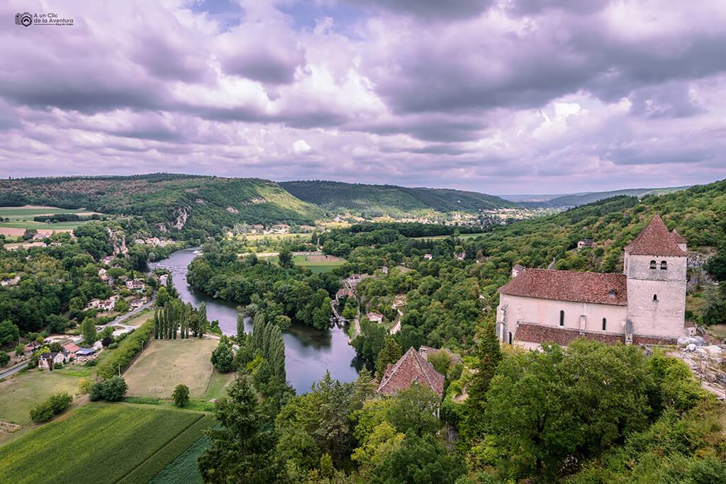 Vistas del valle del Lot desde Saint-Cirq Lapopie