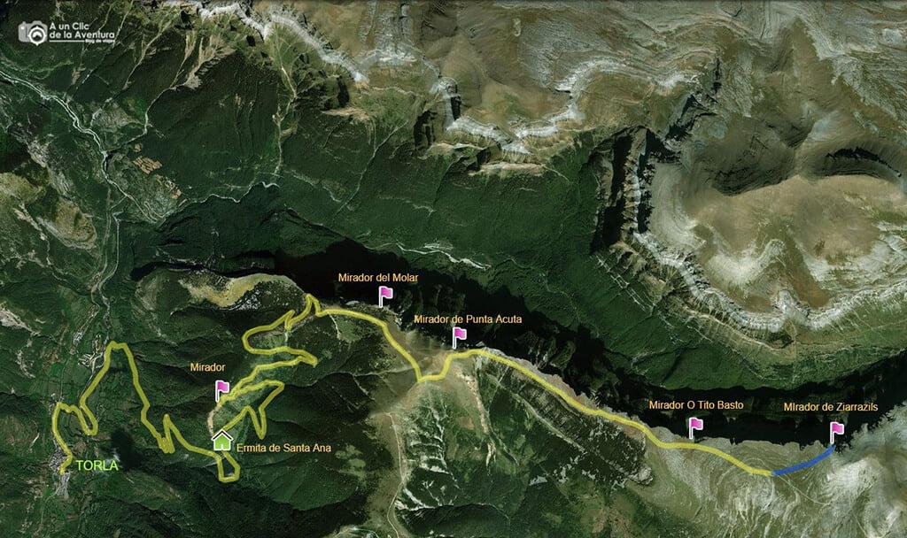 Mapa de la Ruta de los Miradores de Ordesa