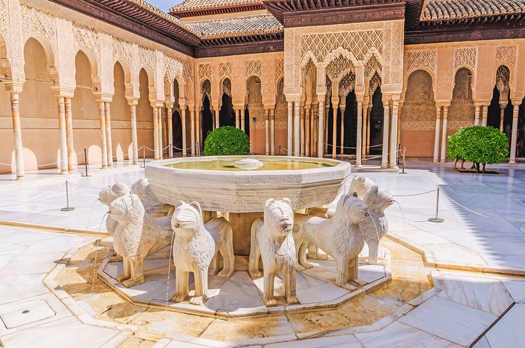 Fuente de los Leones - visitar la Alhambra de Granada