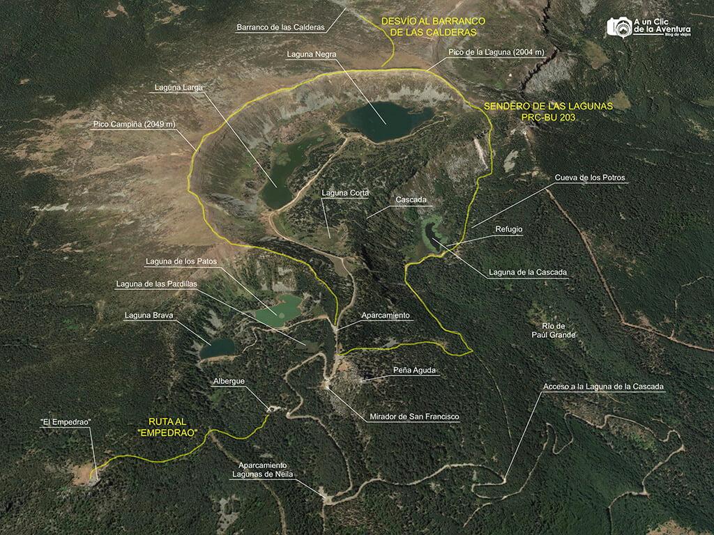 Mapa de las Lagunas de Neila