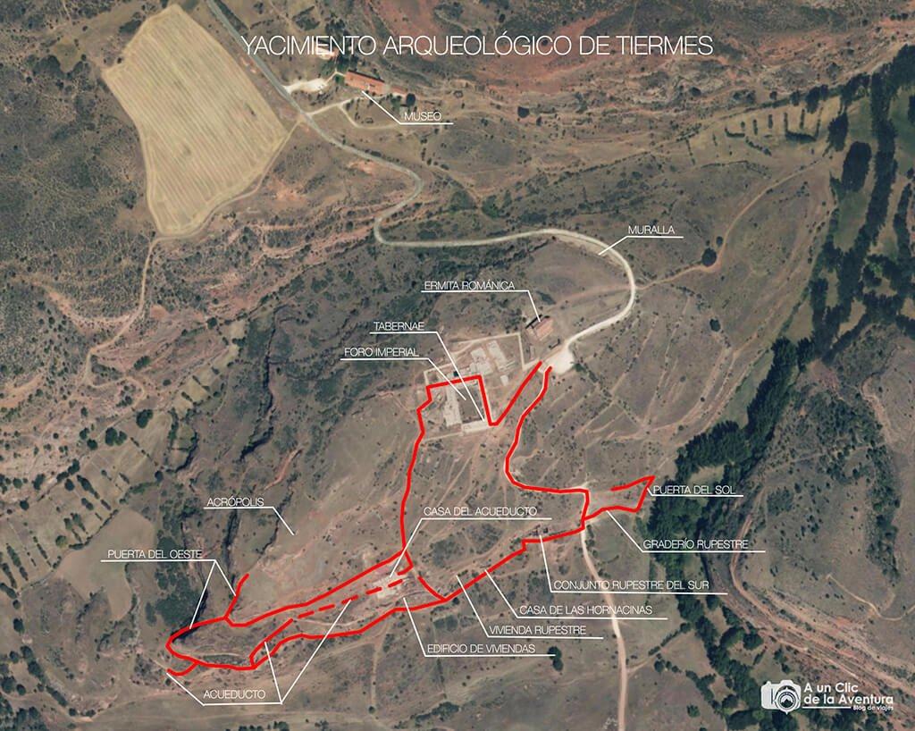 Mapa del Yacimiento Arqueológico de Tiermes