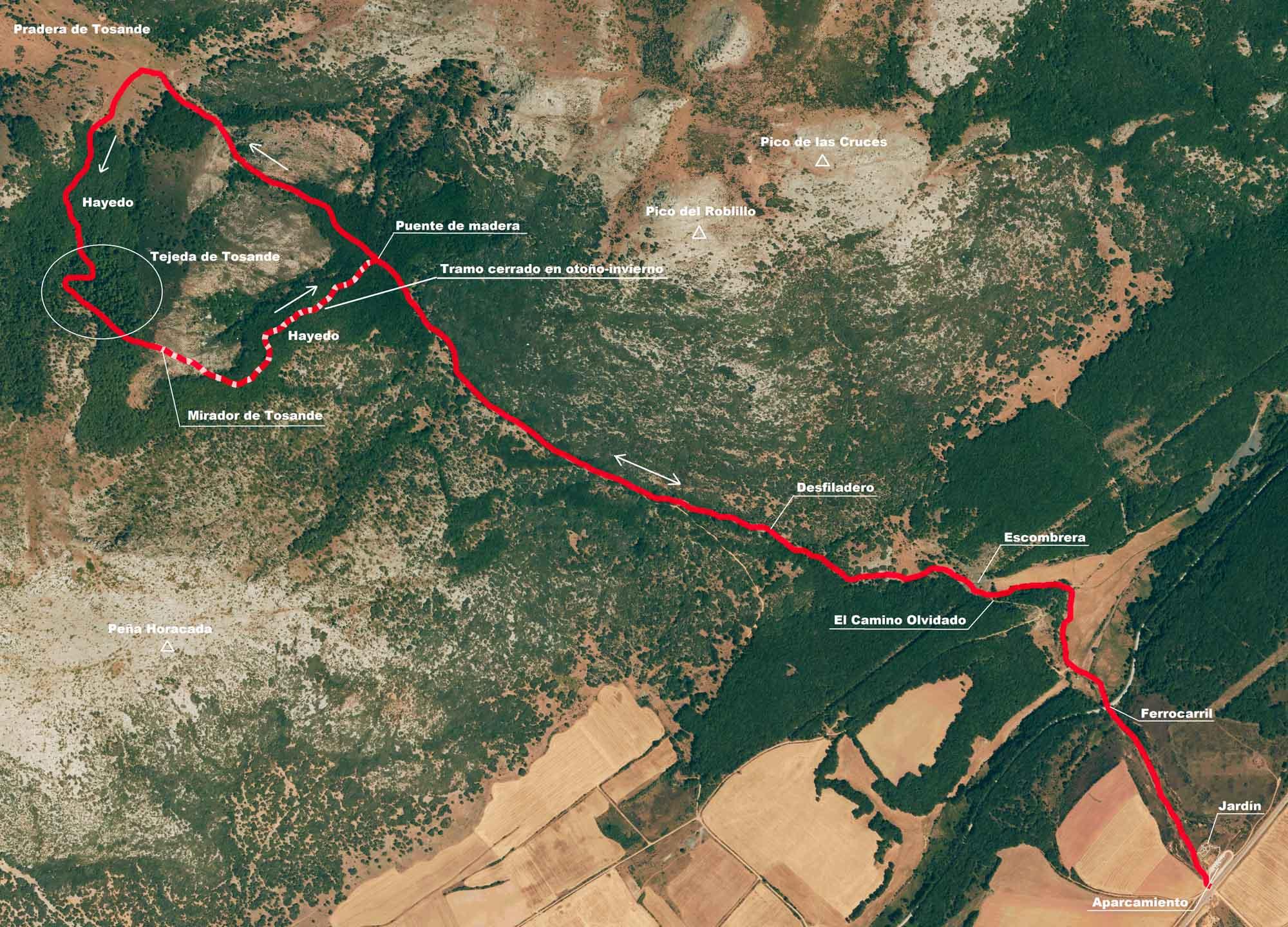 Mapa ruta a la Tejera de Tosande