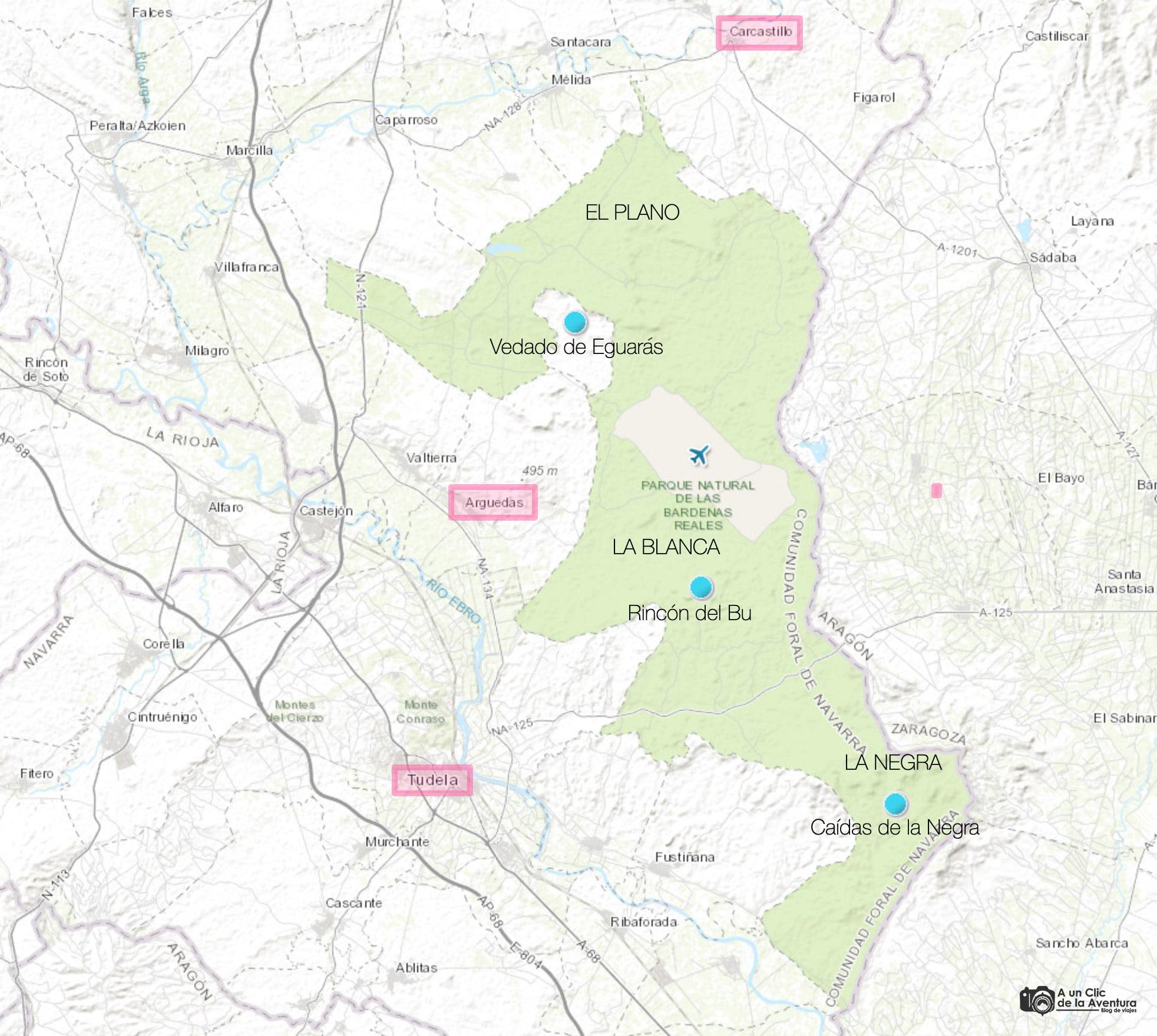 Mapa de las Bardenas Reales