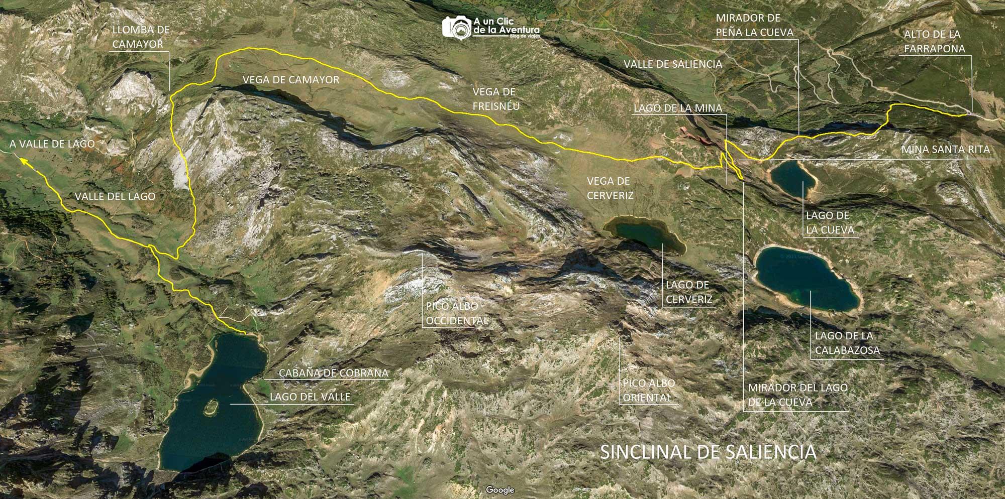 Mapa de la ruta de los Lagos de Saliencia